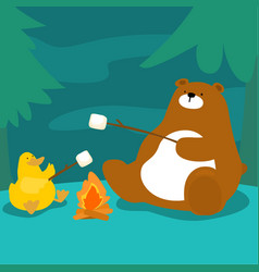 Bear and duck grill marshmallow at campfire vector