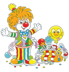 circus clown with toys vector image vector image