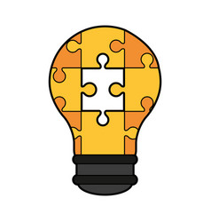 Colorful silhouette light bulb of pieces puzzle vector