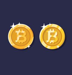 gold bitcoin coin set vector image