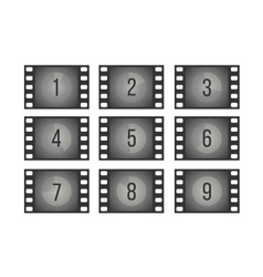 Old cinema film countdown movie frames with vector image vector image