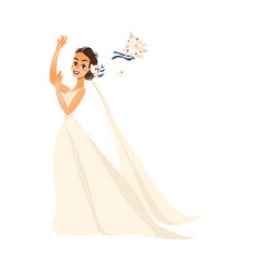 pride throwing her bouquet isolated vector image vector image