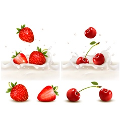 Red strawberry and cherries fruits falling into vector image vector image