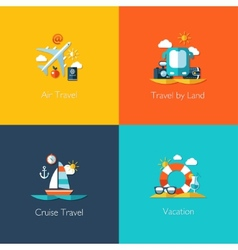Set of travel flat design compositions vector image vector image