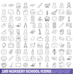 100 nursery school icons set outline style vector image vector image