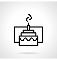 Cake with candle simple black line icon vector image vector image