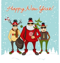 Christmas background with hipster Santa vector image