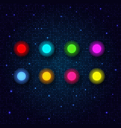 set of colored neon lamps on an abstract glowing vector image vector image