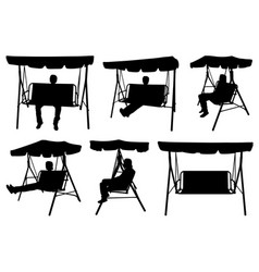 set of different garden swings with people vector image vector image