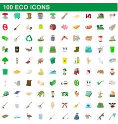 100 eco icons set cartoon style vector image