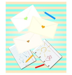 Envelopes with hearts vector image