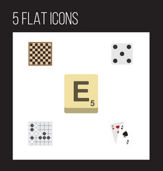 flat icon games set of chess table ace mahjong vector image vector image