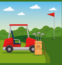 golf car on a golf course design vector image vector image