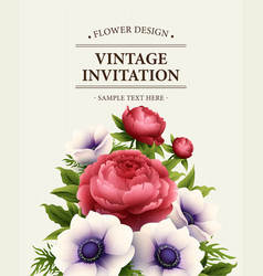 Greeting card with anemone and peony flower vector image