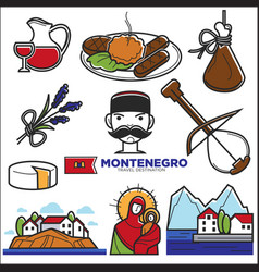 montenegro culture and landmarks icons vector image vector image