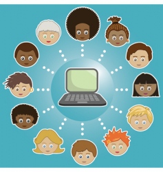 networking kids with computer vector image