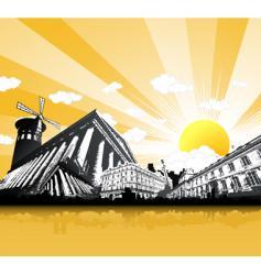 Paris monuments vector image vector image