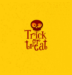 trick or treat tag with cartoon skull vector image vector image