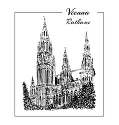 vienna rathaus hand drawn sketch vector image