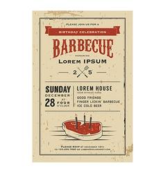 Vintage birthday party barbecue invitation vector