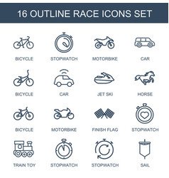 16 race icons vector