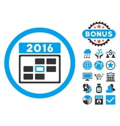 2016 Date Flat Icon with Bonus vector image