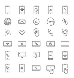 30 line mobile icons vector image