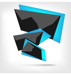 Abstract polygonal speech banner with black color vector