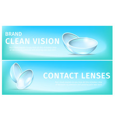 Banners with breathable soft eye contact lenses vector