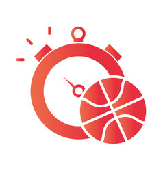 basketball game ball and chronometer recreation vector image
