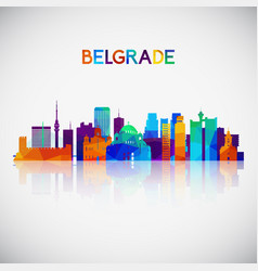 Belgrade skyline silhouette in colorful geometric vector