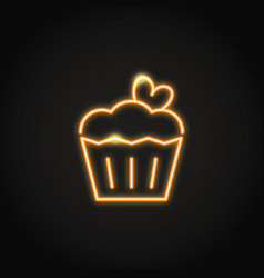Birthday cake with heart glowing neon icon vector