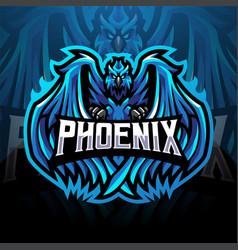 Blue phoenix esport mascot logo design vector