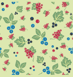 Blueberries and currants seamless pattern vector