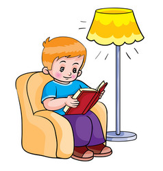 boy sitting in a chair and reading a book next to vector image