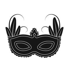 Brazilian carnival mask icon in black style vector image