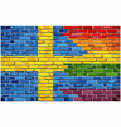 Brick wall sweden and gay flags vector