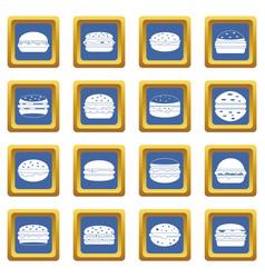 Burger icons set blue vector