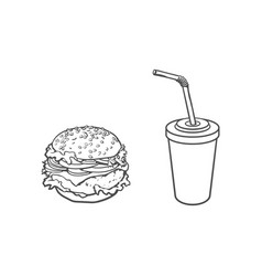 Burger soft drink cup sketch set isolated vector