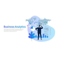 business analytics analysis graph financial vector image