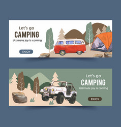 Camping banner design with van car stone tent vector