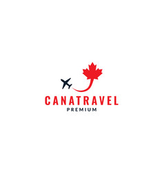 Canada maple leaf with plane fly logo design vector