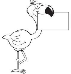 Cartoon flamingo holding a sign vector image