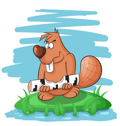 Cartoon funny beaver gnawing on a tree vector