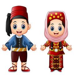 Cartoon turkish couple wearing traditional costume vector