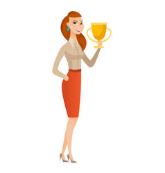 Caucasian business woman holding a trophy vector
