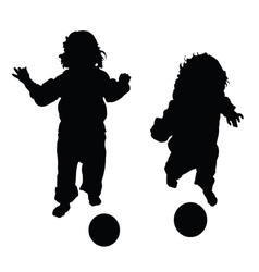Child with ball in black vector