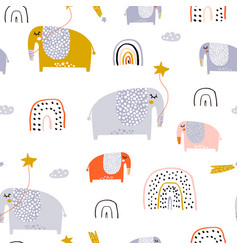 childish seamless pattern with creative elephants vector image
