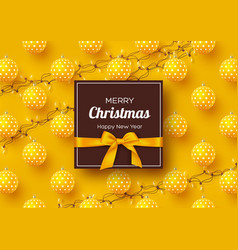 christmas holiday banner realistic 3d baubles vector image