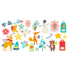christmas magic animal prints and other elements vector image